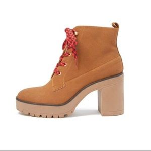 Tan lace up goldie ankle booties